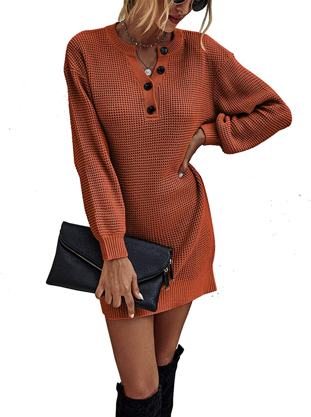 KIRUNDO 2021 Women's Winter Long Sleeve Sweater Dress V Neck Button Henley Long Knit Top Tunic Mini Dress Loose Fit Pullover