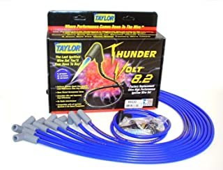 Taylor Cable 86630 ThunderVolt 8.2mm Ignition Wire Set Spiro-Wound Race Fit 90 deg. HEI Under Header Blue ThunderVolt 8.2mm Ignition Wire Set
