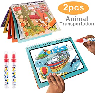 GRACEON Water Wow! Water Coloring Painting Graffiti Book, Reusable Water Reveal Activity Board, Animal and Vehicle Watercolor Books + 2 Magic Drawing Pens Games Toy for Toddlers Kids Baby(2-Pack)