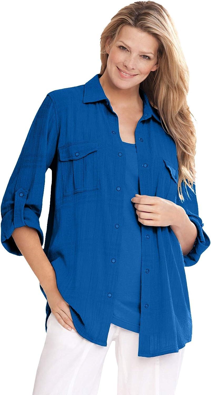 Woman Within Women's Plus Bigshirt Cotton Size Sale SALE% OFF Gauze Beauty products