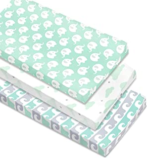 Cambria Baby 100% Organic Cotton Changing Pad Covers or Cradle Sheets w/Reinforced Safety Strap Holes. Mint/Gray Waves, El...