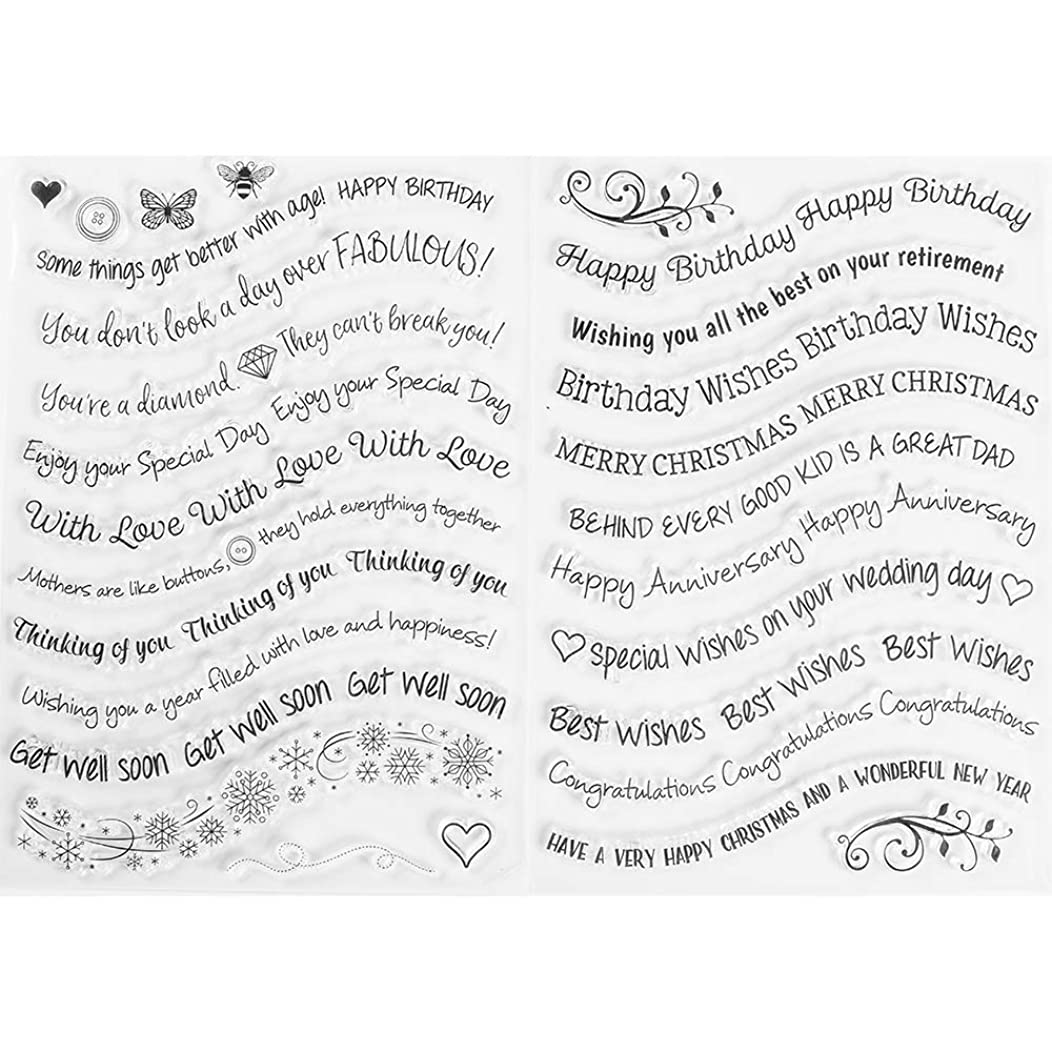 MaGuo Happy Birthday Clear Stamps Best Wishes Word and Phrase Image for Card Making Greeting Phrases Clear Stamps DIY Scrapbooking