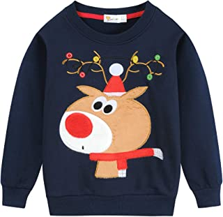 Toddler Boys Girls Christmas Sweatshirt Kids Xmas Reindeer Santa Claus Dinosaur T Shirts Pullover Tops Tees 2-7 Years