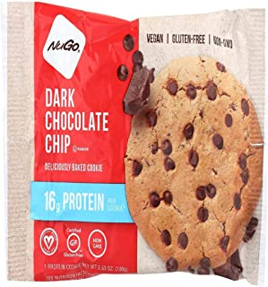 NUGO NUTRITION BAR, Cookie, Protn, Drk Choc Chp, Pack of 12, Size 3.53 OZ, (Gluten Free Kosher Vegan Wheat Free Yeast Free)