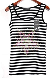 9eef405beeca6f Women Casual Stripe Summer Cotton Rhinestone Geometric Plus Size Tank Top