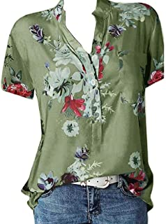 OTW Women's Short Sleeve Floral Summer Collared V Neck Tee Shirts Blouse Top