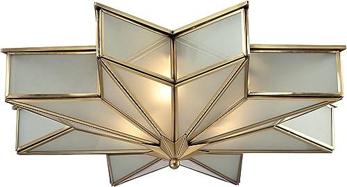 "discount ELK Lighting 22011/3 Decostar sale Collection 3 Light Flush Mount, 6 x wholesale 21 x 21"", Brushed Brass online"
