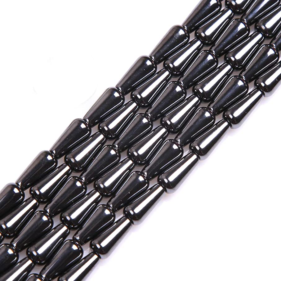 GEM-inside Black Drop Magtice Hematite Gemstone 6X12mm Loose Beads for Jewelry Making Jewelry Beading Supplies for Women