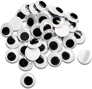 TOAOB 100pcs Round Black White 6mm Self-adhesive Wiggle Eyes for DIY Scrapbooking Crafts and Toy Accessories