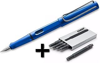 Lamy Safari Fountain Pen (14F) Sky Blue + 5 Black Ink Cartridges