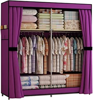 SCYMYBH Closet Permanent Armoire Portable Vêtements Chambre Hanging Armoire de Rangement Organisateurs de Rangement vêteme...