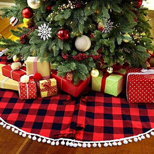 PartyTalk 48 Inch Christmas Tree Skirt Red and Black Buffalo Plaid Tree Skirt with Pom Pom Trim for Holiday Christmas...