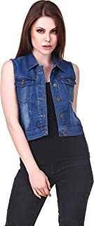 G.S.A ENTERPRISES Sleeveless Dark Blue Regular Collar Women's Denim Jacket