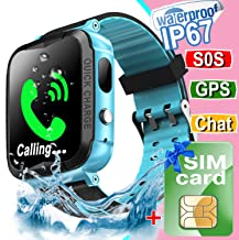 Waterproof Kids Smart Watch Phone[Free SIM],GPS Tracker Smartwatch with Camera Alarm S0S Two-Way Texting Calling,Touch Screen Kid Cellular Watch (Blue)
