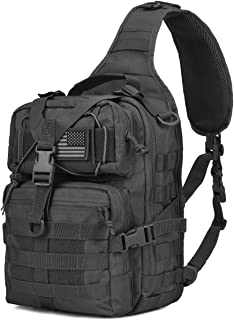 Wycoff Gear Tactical Sling Bag Pack Military Rover Shoulder Sling Backpack EDC Molle Assault Range Bags Day Pack with Tactical Patch Black
