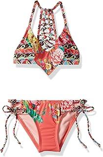 fe4298931c0d Hobie Big Girls' Triangle Bra Top & Faux Tie Hipster Bottom Swimsuit Set