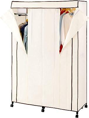 ドウシシャ ハンガーラック 不織布カバー付き ワードローブ 大容量36kg キャスター付 キナリ 幅120×奥行50×高さ183cm CHR-1250
