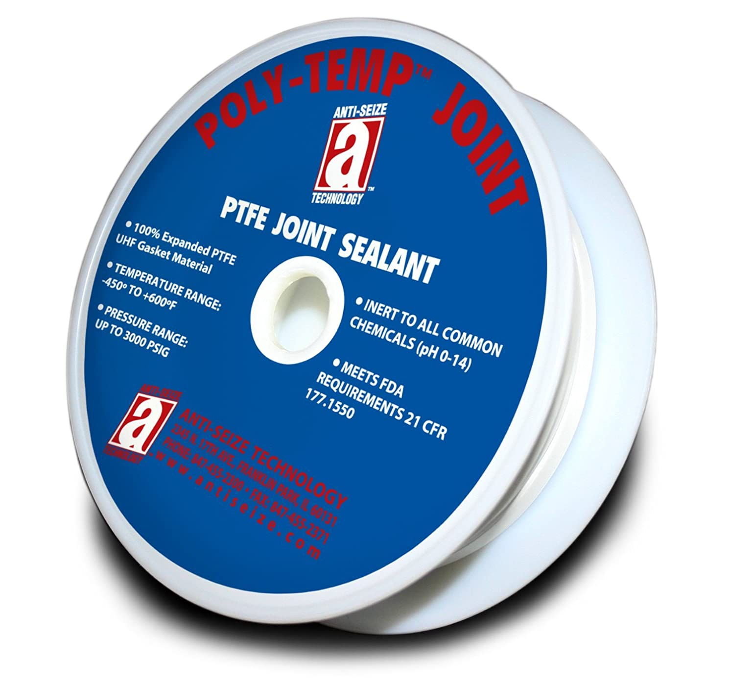POLY-TEMP 28005 White Joint Sealant 100% PTFE Gasket Material Expanded UHF Adhesive Tape, 3/16