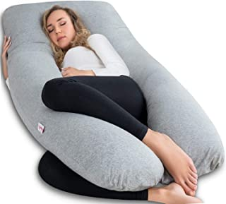AngQi Pregnancy Pillow with Jersey Cover, U Shaped Full Body Pillow for Pregnant Women and Sleeping, Gray