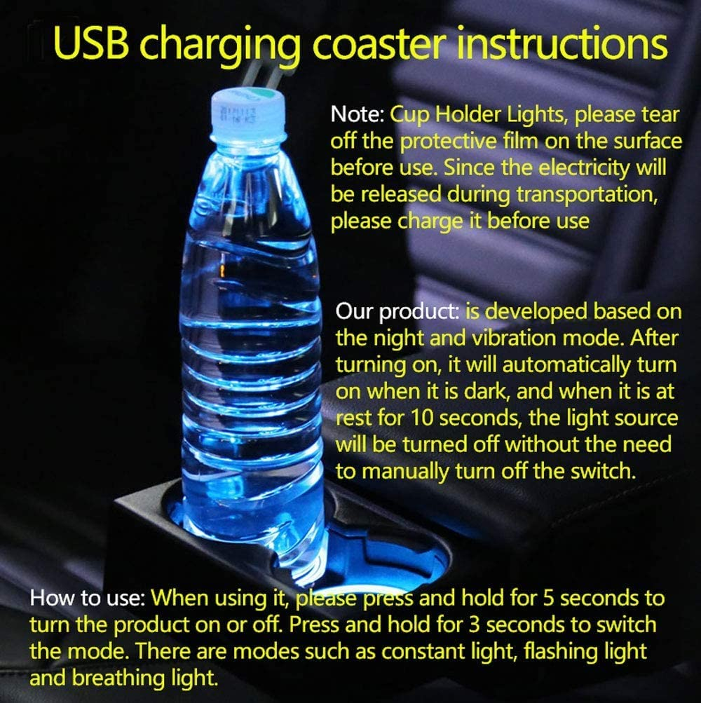 LED Interior Atmosphere Lamp 2pcs LED Car Cup Holder Lights for Volkswagen 7 Colors Changing USB Charging Mat Luminescent Cup Pad