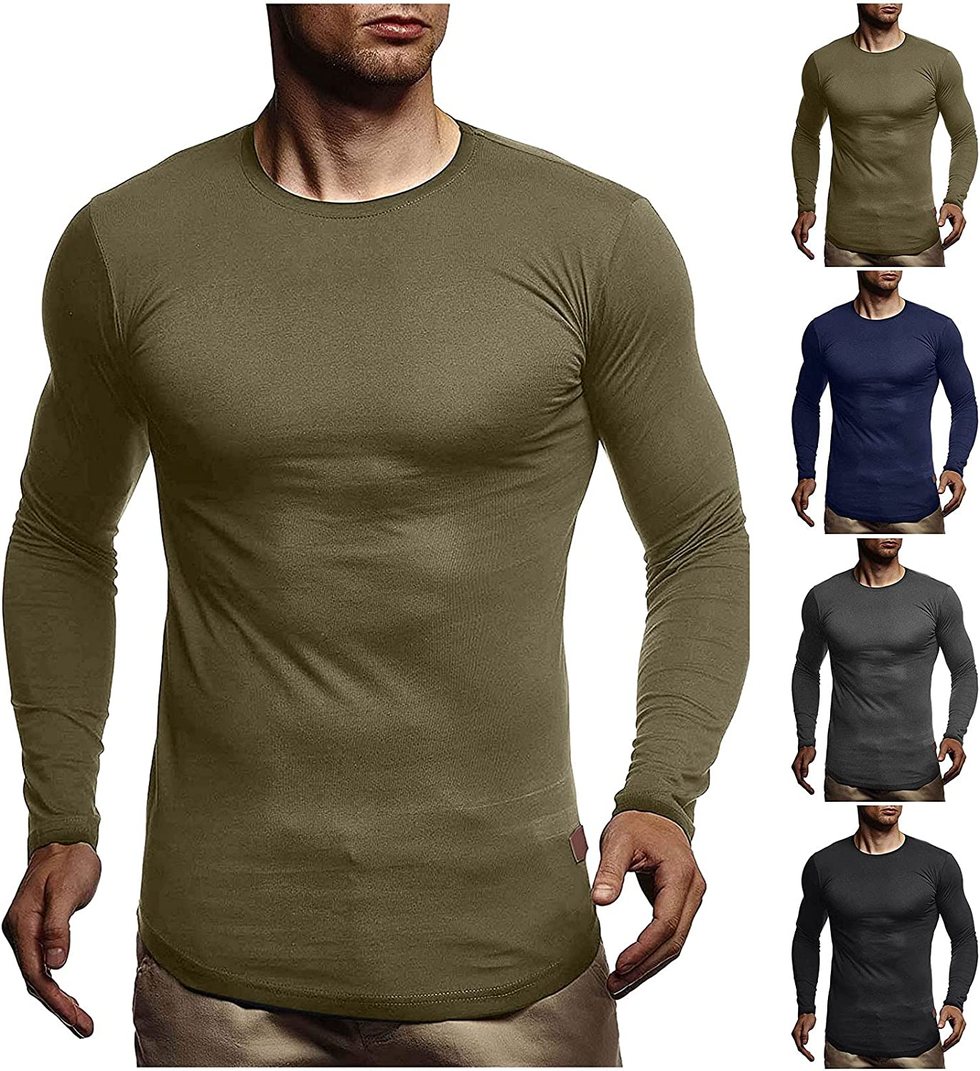 xoxing Long Sleeve for Men Plus Size Loose Casual O-Neck Solid Fit Pleated Shirt Blouse Fitness Pullover