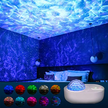 Star Projector Night Light, 10 Colors Music Projector Ocean Wave Projector