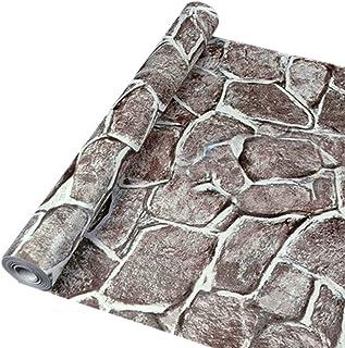 WTD - Papel pintado para pared, autoadhesivo, diseño de ladrillos y piedras, gris