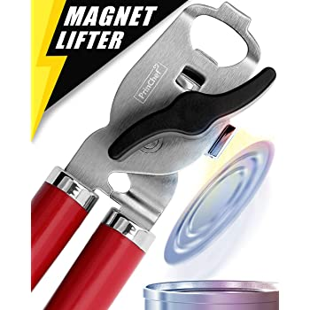 Can Opener, No-Trouble-Lid-Lift Magnet Manual Can Openers Smooth Edge, Japanese Stainless Steel Sharp Blade Safe Cover for Beer/Tin/Bottle, Big Turning Knob Soft Handle Good for Seniors with Arthritis