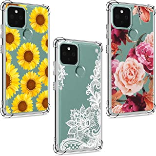 (3 Pack) Case for Google Pixel 5, for Girls Women Shock-Absorption Anti-Scratch Crystal Clear Soft TPU Slim Bumper Protective Phone Case Cover for Google Pixel 5 5G, Flower