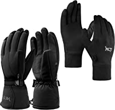 MCTi Waterproof Mens Ski Gloves 3M Thinsulate + Glove Liner Touch Screen Lightweight Snowboard Snowmobile Running Texting