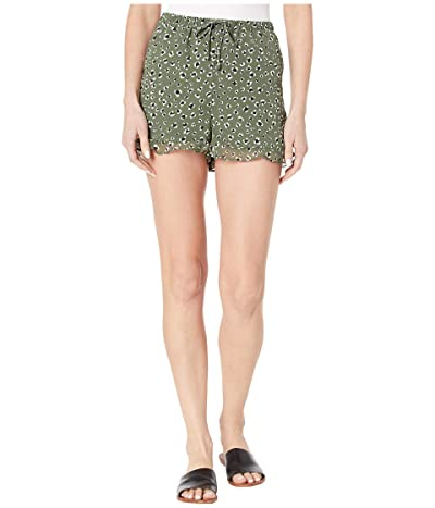 Jack by BB Dakota Leopard Printed Chiffon Shorts with Pockets (Sage) Women