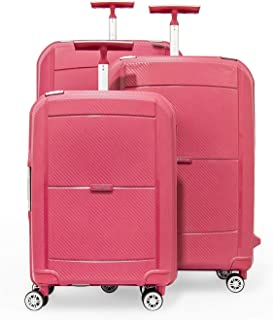 Upright Trolley by Sonada - Hard Case Spinner Luggage set of 3,Pink