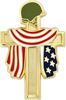 Fallen Heroes Gold Cross American Flag Military Veteran Lapel Pin