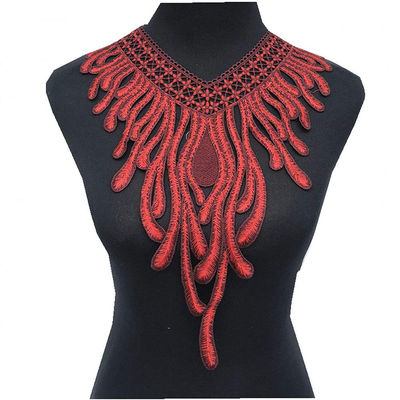 Phoenix Venise Lace Fabric Dress Applique Motif Blouse Sewing Trims DIY Neckline Collar Costume Decoration Accessories (red)