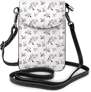 Women Small Cell Phone Purse Crossbody,Flower Pattern With Leaves Petals Japanese Garden Design