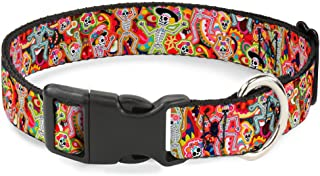 """Buckle-Down Plastic Clip Collar - Dancing Catrinas Collage Multi Color - 1/2"""" Wide - Fits 6-9"""" Neck - Small"""