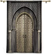 S Brave Sky Waterproof Roman Blinds,Moroccan Decor,Aged Gate Geometric Pattern Doorway Design Entrance Architectural Oriental Style