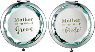 Humphrey Amelia Pack of 2 Engraved Mother of The Bride and Mother of The Groom Makeup Mirror Compact Pocket Mirrors Bridal Shower Party Wedding Proposal Gifts