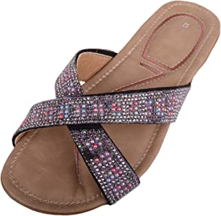 ABSOLUTE FOOTWEAR Womens Diamante Style Summer/Holiday Slip On Flip Flops/Sandals/Mules