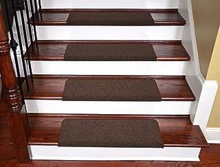 Dean Modern DIY Peel and Stick Bullnose Wraparound Non-Skid Carpet Stair Treads - Urban Legend Brown 30