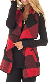 Womens Fashion Lapel Open Front Sleeveless Plaid Vest Cardigan Coat with Pocket