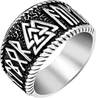 Vintage Mens 316L Stainless Steel Nordic Norse Viking Valknut Warrior's Ring Odin Symbol Rune Amulet Ring Scandinavian Viking Jewelry