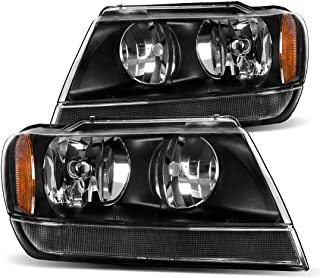 For 1999 2000 2001 2002 2003 2004 Jeep Grand Cherokee Headlight Assembly,OE Headlamp Black Housing