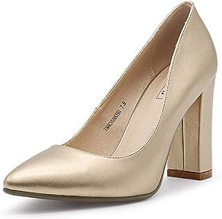 Women's IN4 Chunky-HI Block High Heels Closed Pointed Toe...