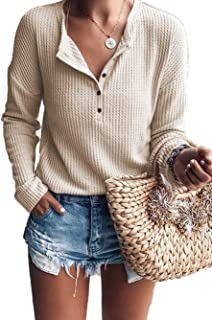 Best women's waffle knit henley shirts Reviews