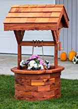 Amish Large Cedar Wood Handcrafted Wishing Well, Stained