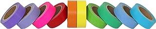 Scraft Artise (10) Rolls of Rainbow Washi Tape, Japanese Masking Tape Set, 15mm x 10m, approx. 5/8