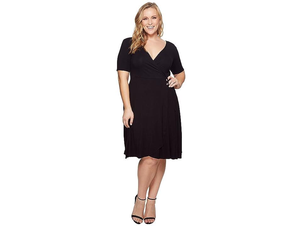 KARI LYN Plus Size Allison Faux Wrap Dress (Black) Women