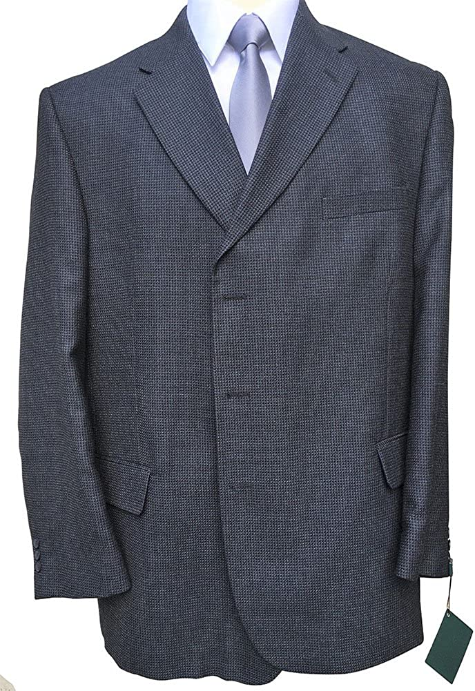 Classic British Styled 3 Button Big and Tall Blue Micro Check Big and Tall Sport Coat