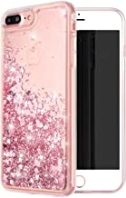 iPhone 7 Plus Case, iPhone 8 Plus Case, WORLDMOM Double Layer Design Bling Flowing Liquid Floating Sparkle Colorful Glitter Waterfall TPU Protective Phone Case for Apple iPhone 7 Plus,Rose Gold